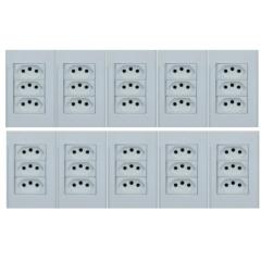10 TOMADA COM 3 MODULO 10A  4X2 BRANCO - STECK STELLA