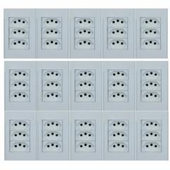 15 TOMADA COM 3 MODULO 10A  4X2 BRANCO - STECK STELLA