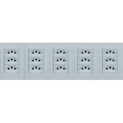 5 TOMADA COM 3 MODULO 10A  4X2 BRANCO - STECK STELLA